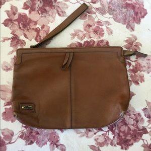 Vintage Phillippe Leather Zip Clutch Wristlet Bag